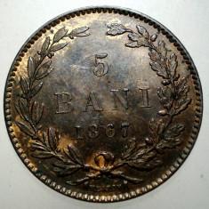 R.094 ROMANIA 5 BANI 1867 H XF - Moneda Romania, Cupru (arama)