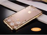 Husa iPhone 7 Plus TPU Flower Gold, iPhone 7/8 Plus, Transparent, Gel TPU, Apple