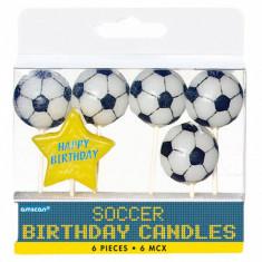 Lumanari aniversare pentru tort Mingi de Fotbal, Amscan 170661 Set 6 buc - Lumanari tort copii