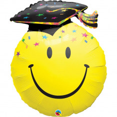 Balon folie figurina Smiley Face Absolvire - 91cm, Qualatex 40379
