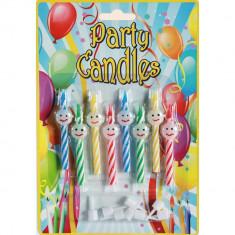 Lumanari aniversare pentru tort multicolore cu Smiley, Radar 181037, Set 8 buc - Lumanari tort copii