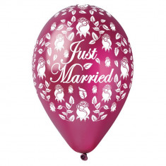 Baloane latex sidefate 30cm Just Married Burgundy, Gemar 301915, set 5 buc