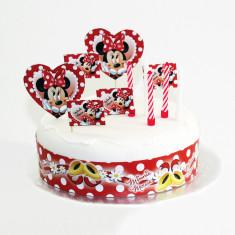 Kit pentru decorare tort cu Minnie Mouse, Amscan 995250, Set 19 piese