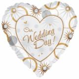 "Balon folie 45cm inima ""Our Wedding Day"", Amscan 1603101"