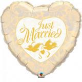 Balon folie inima Just Married - 91cm, Qualatex 32463