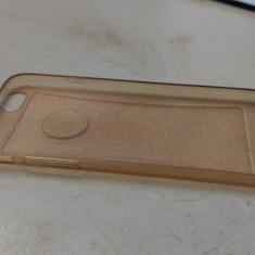 Husa Apple iPhone 6 6S Transparenta Silicon Carcasa Gold Rose Sclipici - Husa Telefon, Roz
