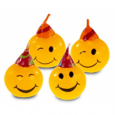 Lumanari aniversare pentru tort minifigurine Smiley, Amscan 552129, Set 4 buc - Lumanari tort copii