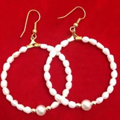 Cercei rotunzi-placati cu AUR 18K si perle de cultura / perla/vintige gold
