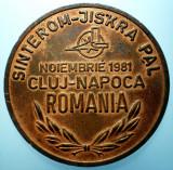 B.348 ROMANIA RSR CEHOSLOVACIA MEDALIE SINTEROM  CLUJ-NAPOCA 1981 47mm