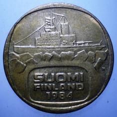 B.736 FINLANDA URHO 5 MARKKAA 1984, Europa, Bronz-Aluminiu