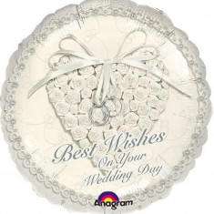 Balon folie 45cm Best Wishes On Your Wedding Day, Amscan 113600