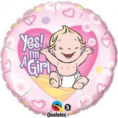 Balon Folie 45 cm Yes! I'm a Girl, Qualatex 86890