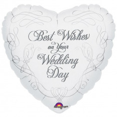 Balon folie 45cm Best Wishes on Your Wedding Day, Amscan 13686