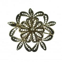 Brosa argint vintage, design floral, executie elaborata filigran, atelier german