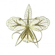 Brosa argint oversize, model delicat orhidee, executie manuala filigran, vintage