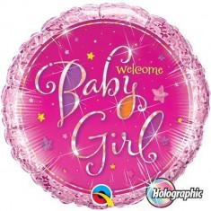 Balon Folie 45 cm Welcome Baby Girl, Qualatex 35316