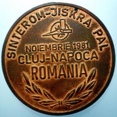 B.306 ROMANIA RSR CEHOSLOVACIA MEDALIE SINTEROM CLUJ-NAPOCA 1981 47mm - Medalii Romania
