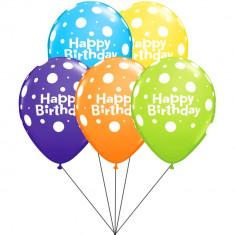 Buchet din baloane latex asortate Happy Birthday cu heliu, Qualatex BB.Q96899