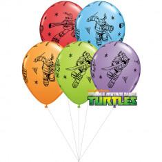 Buchet din baloane latex asortate Testoasele Ninja cu heliu, Qualatex BB 11296 - Baloane copii