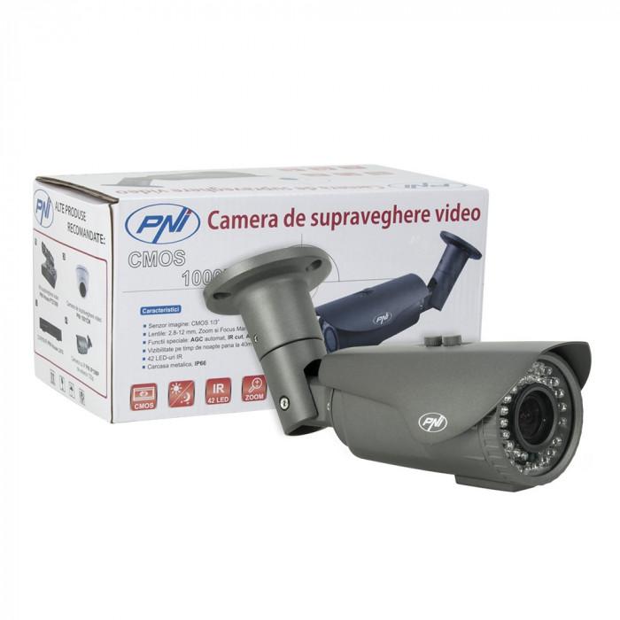 Resigilat : Camera supraveghere video PNI 1002CM lentila varifocala 2.8 - 12 mm, 1
