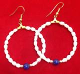 OFERTA- Cercei rotunzi -perle de cultura / vintige gold/ perla