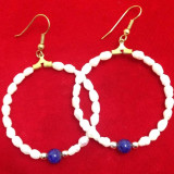 Cercei rotunzi placati cu AUR 18K si perle de cultura / vintige gold/ perla