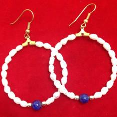 Cercei rotunzi placati cu AUR 18K si perle de cultura / vintige gold/ perla - Cercei perla