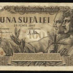 Z243 ROMANIA 100 LEI 25 IUNIE 1947 VF+ - Bancnota romaneasca