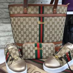Geanta+eșarfa+papuci+portofel Gucci - Geanta Dama Gucci, Culoare: Maro, Marime: Medie