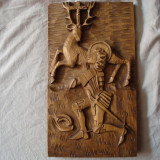 Sculptura veche in lemn, tematica religioasa/vanatoare/cavaler medieval/colectie, Animale