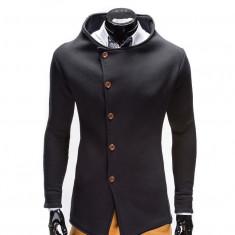 Hanorac barbati stil palton b310 negru, Marime: S, M, L, XL, Bumbac