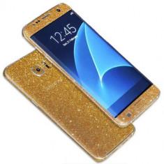 Folie Samsung Galaxy S7 Edge Sticker Diamond Full Body Gold, Colorata