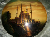 Set trei plachete islamice vintage gravura pe cupru si email