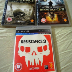 Pachet Resistance Fall of Man, Resistance 2, Resistance 3, PS3, original! - Jocuri PS3 Sony, Actiune, 18+, Multiplayer
