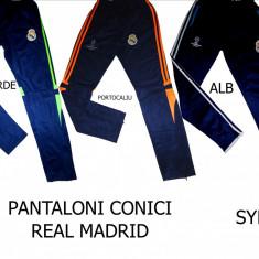 PANTALONI REAL MADRID, MODEL CONIC, MATERIAL SYLON, LIVRARE GRATUITA - Trening barbati, Marime: L, XL, Culoare: Alb, Orange, Verde