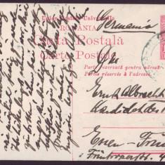 1920 CP UPU circulata extern Bucuresti - Essen Germania, timbru Ferdinand 1 Leu