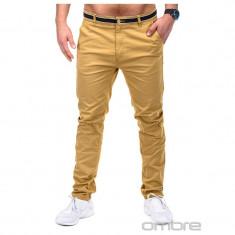 Pantaloni barbati P156 bej SlimFit, model NOU, Marime: S, M, L, Lungi, Bumbac