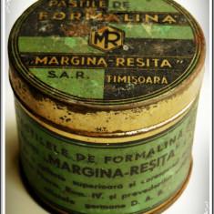 CUTIE VECHE DIN TABLĂ PT. PASTILE DE FORMALINĂ - MARGINA REȘIȚA, SAR TIMIȘOARA! - Cutie Reclama