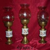 Rar! Set veioze stil Baroc Victorian, alama/portelan/abajur cristal
