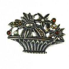 Brosa argint vintage, design inspiratie victoriana, marcata designer german BAS