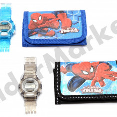 Set ceas de mana electronic si portofel Spiderman - Ceas copii Disney