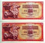 Lot/Set 2 Bancnote 100 Dinari YUGOSLAVIA, SERII CONSECUTIVE necirculate! cod 401
