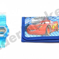 Set ceas de mana electronic si portofel Cars - Ceas copii Disney