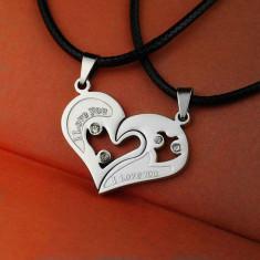 Pandantiv / Colier / Lantisor - Cuplu - I LOVE YOU - 2 Bucati - Argintiu - Pandantiv fashion