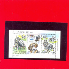 ST-179=SUEDIA 1989-colita nestampilata de 3 timbre, tematica CAINI-MNH, Nestampilat