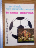PROGRAM FOTBAL  + BILET MECI - STEAUA - BENFICA  ,6.04.1988