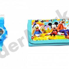 Set ceas de mana electronic si portofel Mickey Mouse - Ceas copii Disney