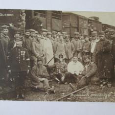 Foto 1914(model carte postala 135 x 87 mm) prizonieri germani in Franta WWI - Fotografie veche