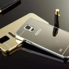 Bumper Samsung Galaxy S5 G900 Aluminiu + Capac Mirror Silver - Bumper Telefon, Argintiu