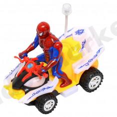 Masinuta ATV Spiderman cu sunete si lumini - Figurina Desene animate